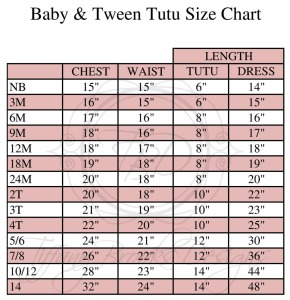 Childrens Size Chart TBD