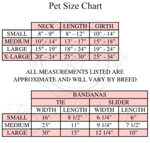 Pet Size Chart TBD